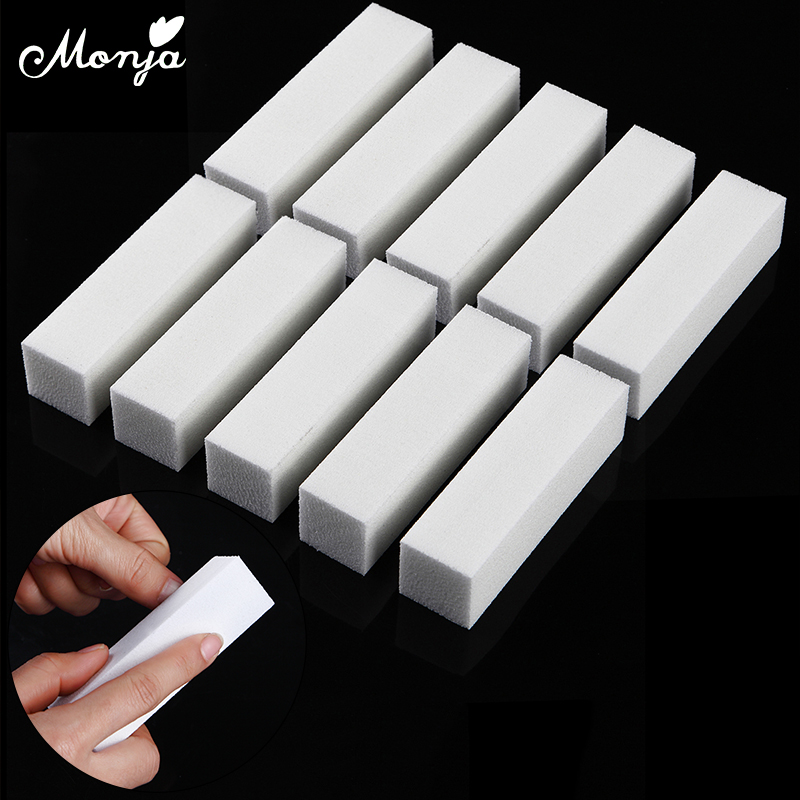 Monja 10Pcs White Nail Art Buffer Block Sanding Polishing Sponge Nail Files Fingernail Toe Buffing Grinding Manicure Tools