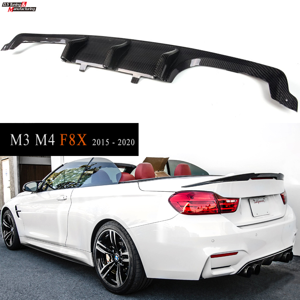 for BMW 2015 - 2020 F82 & F83 M4 F80 M3 Carbon Fiber Rear Diffuser Lip Style image