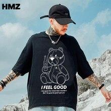 Hmz 2021 novo hip hop men urso t camisa moda simples impressão tshirt verão t camisa dos homens de algodão manga curta camiseta para homem engraçado topo