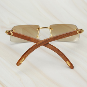 Image 2 - עץ ללא מסגרת רטרו משקפי שמש גברים נשים משקפיים שמש נהיגה דיג יוקרה קרטר משקפיים מסגרת עץ משקפי שמש זכר