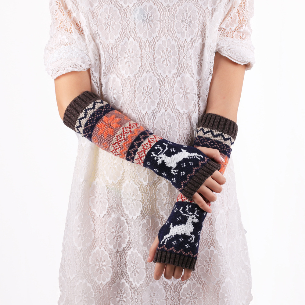 Cartoon Deer Knitted Arm Sleeves Female Japanese Style Cute Jacquard Autumn Winter Warm Soft Half-finger Gloves Arm Sleeves