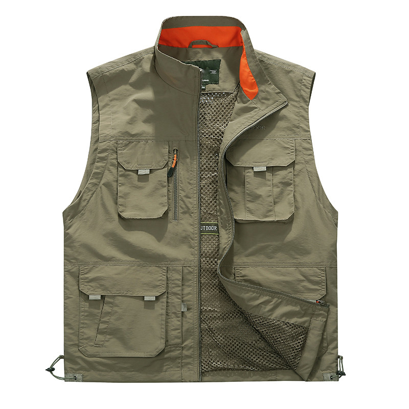 Summer Mesh Vest With Many Pocket For Men Spring Autumn Breathable Military Green Sleeveless Jacket Male Multi Pocket Waistcoat