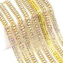 1 ярд 3 ряда лента из страз цветные Кристаллы цепь страз в оправе пришить горный хрусталь для свадебных платьев страз Лента ткань для поделок