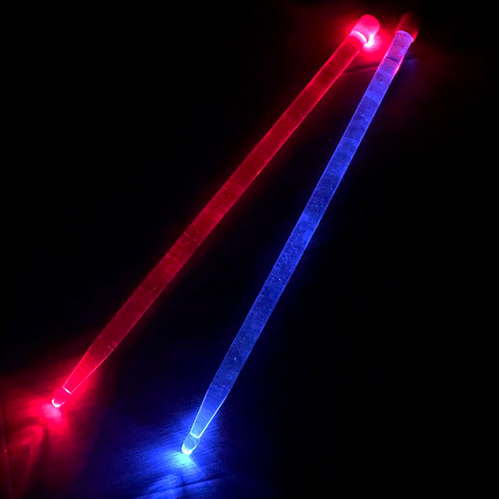 5A Acrylic Drums Sticks Red & Blue Glow Alternately Noctilucent Glow In The Dark Stage Performance Luminous Jazz Drumsticks