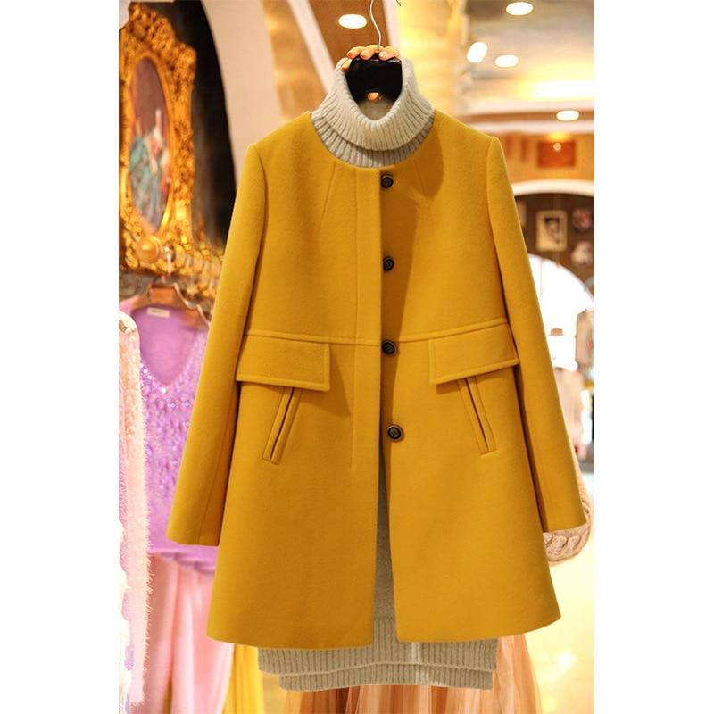 Fat Mm Autumn And Winter New Style Korean-style Woolen Jacket Plus-sized WOMEN'S Dress Mid-length Crew Neck Woolen Overcoat 200