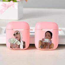Fashion Black Girl Make Money Protective Case For Airpods 1 2 Wireless Earphone For Airpod Cases Silicone Pink Luxury Cute