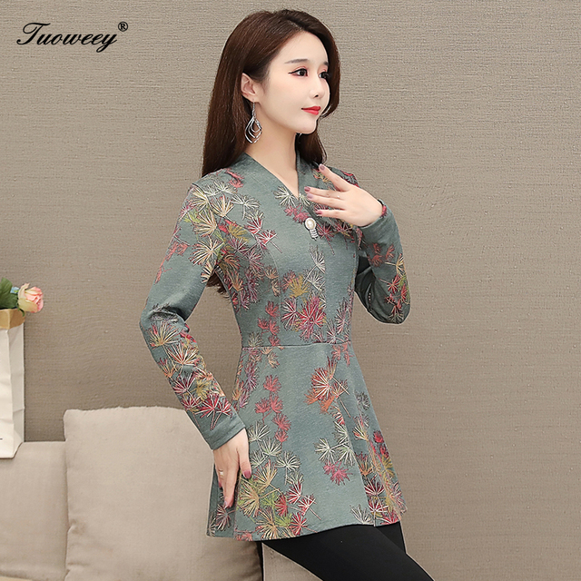 5XL Autumn Chiffon Blouse Shirts Casual floral Loose elegant v neck long Sleeve Floral Print Tops blusas blouse 2020 women 5