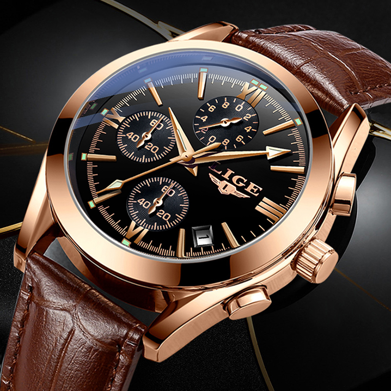 2020 LIGE New Fashion Mens Watches Top Brand Luxury Military Quartz Watch Premium Leather Waterproof Sport Chronograph Watch Men