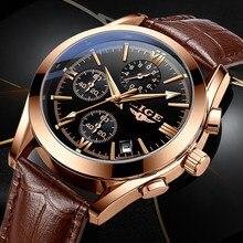 2020 lige nova moda dos homens relógios marca superior de luxo militar relógio quartzo premium couro à prova dwaterproof água esporte cronógrafo relógio masculino