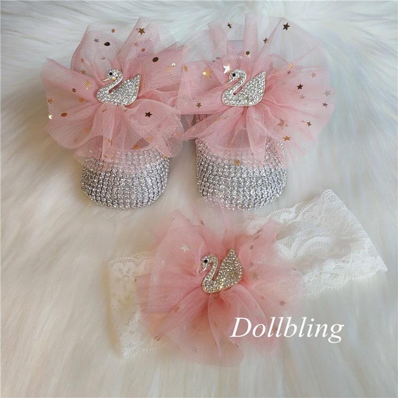 Dollbling Diamond Swan Baby Shoes Rhinestone Lace Headband Handmade Soft Shoes 1st Birthday Dress Infant Crib Ballerina Shoes