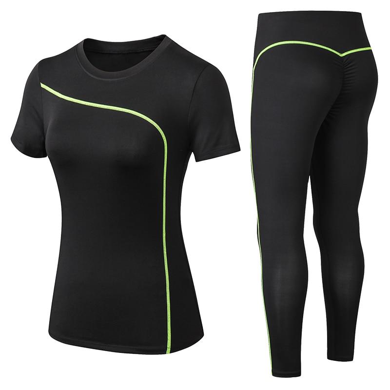 New Women Gym Sets 2 Piece Yoga Set Gym Clothes Tennis Yoga Shirt + Seamless Leggings Workout Sports Suit Active Wear