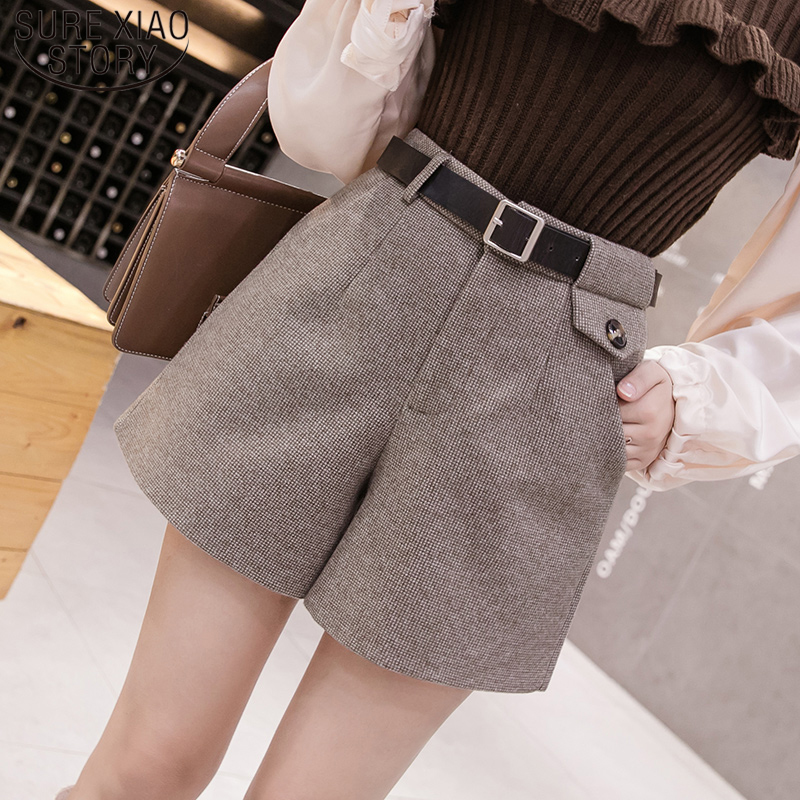 Elegant Leather Shorts Fashion High Waist Shorts Girls A-line  Bottoms Wide-legged Shorts Autumn Winter Women 6312 50 60