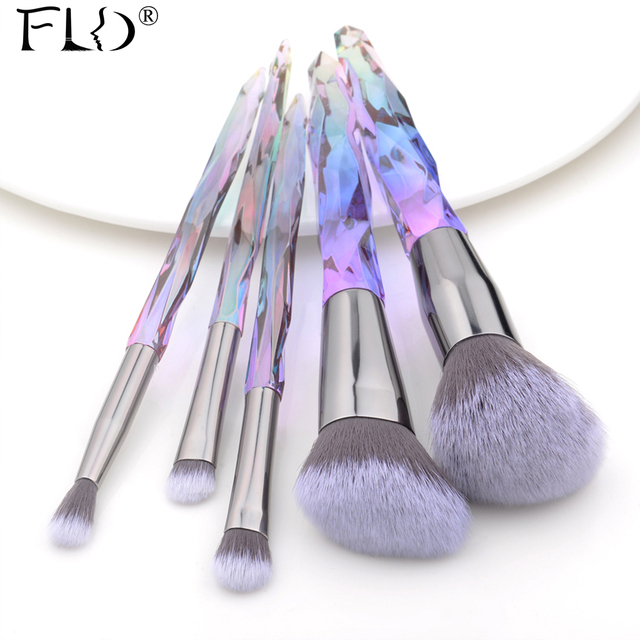 FLD 5Pcs Crystal Style Makeup Brushes Set Powder Foundation Eye Blush Brush Cosmetic Professional Makeup Brush Kit Tools