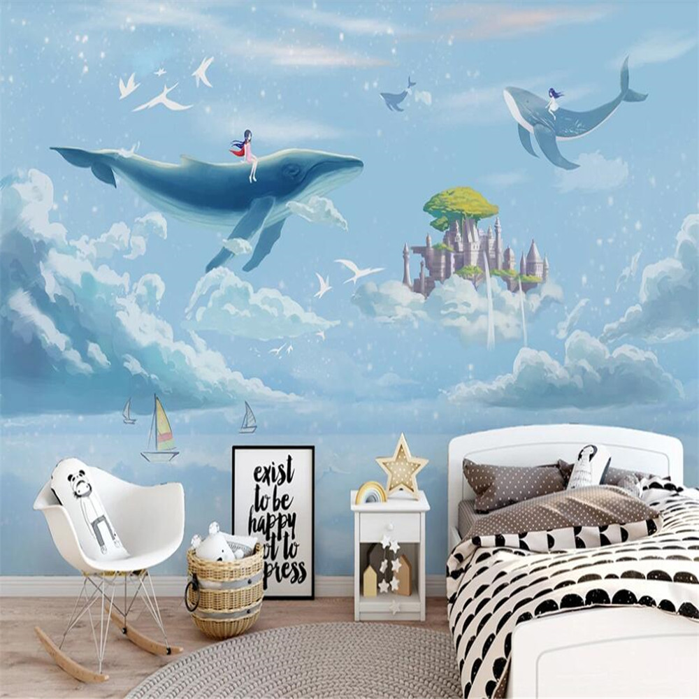 Drop Shipping Custom 3D Wallpaper Mural Hand Painted Watercolor Sky Whale Children Room Decoration Painting Wallpaper