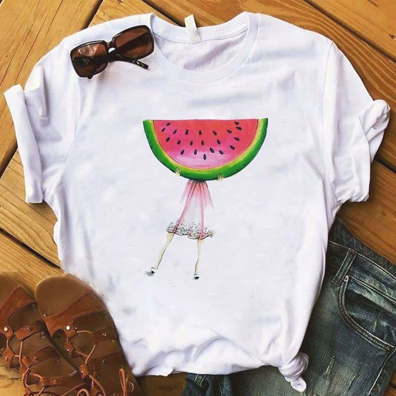 Ananas owoce odzież T-shirt moda trójnik żeński Top graficzny T koszula kobiety Kawaii Camisas Mujer ubrania 2019 2