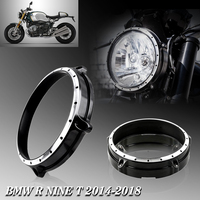 Motorcycle CNC Aluminum 7 Headlight Bezel Trim Ring Cover For BMW R Nine T R NINET Scrambler 2014 2015 2016 2017 2018 Black