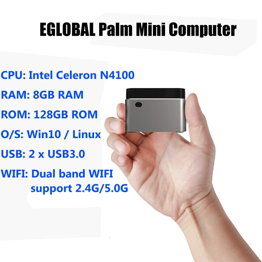 Ordinateur de palme Eglobal Intel Celeron N4100 Quad-Core 8 go LPDDR4 128 go SSD 2.4G/5G WiFi BT4.2 Mini PC Windows 10 Pro