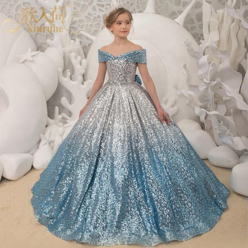 CHILDREN'S Dress Silver Blue Gradient Long Tailing Formal Dress Girls Host Model Catwalks Piano Performance Formal Dress