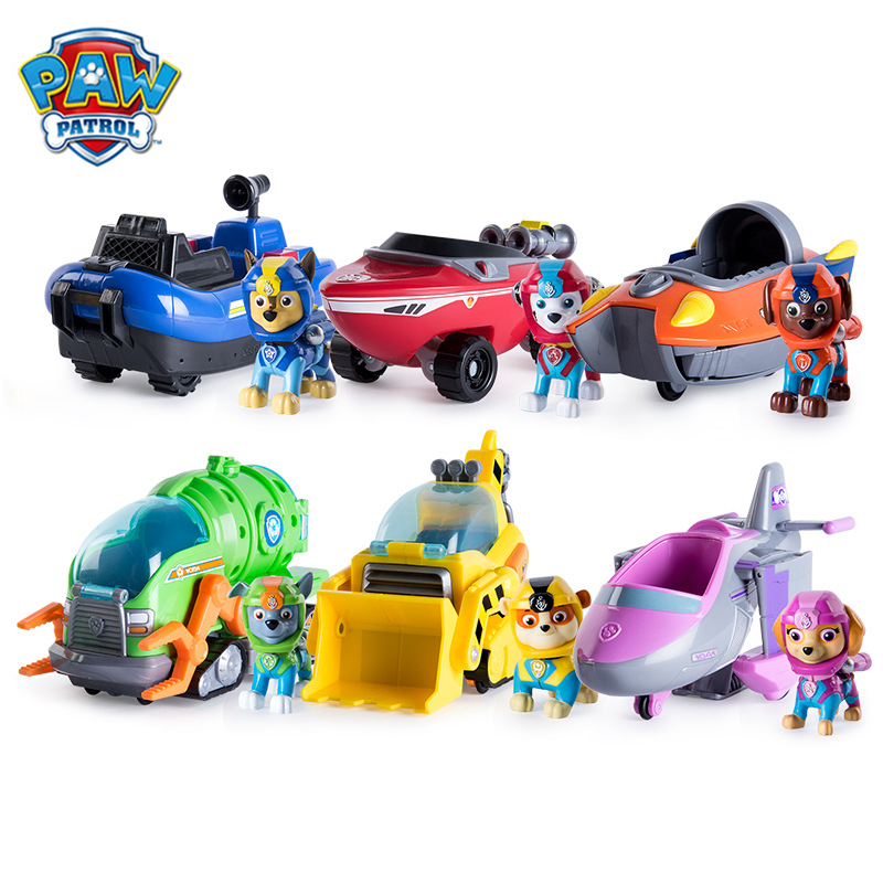 Paw Patrol Dog Sea Patrol Vehicle Rescue Puppy Set Toys Patrulla Canina Action Figures  Chase Marshall Ryder Model Toy Kids Gift
