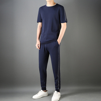 JSBDSummer thin thin line contrast color splicing design men round collar casual sport short sleeve suit men