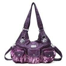 Angelkiss/Модная женская сумка-хобо, большая сумка с ручкой сверху, плиссированная сумка из искусственной кожи, сумка на плечо, передняя Сумочка Карманная