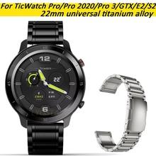 For Polar Vantage M Band, 22mm Titanium Metal Watch Strap For TicWatch Pro/Pro 3/GTX/E2/S2 Bracelet For Garmin First Avenger