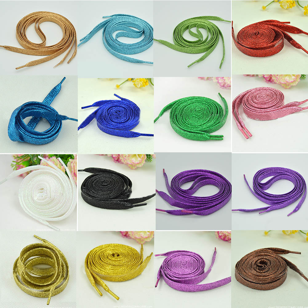 1 Pair Shiny Gold Silver Colorful Bling Shoelaces 19 Colors 113-115cm Sneaker Shoe Laces Glowing Canvas Shoeslaces Strings