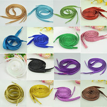 1 Pair Shiny Gold Silver Colorful Bling Shoelaces 19 colors 113-115cm Sneaker shoe Laces Glowing Canvas Shoeslaces Strings(China)