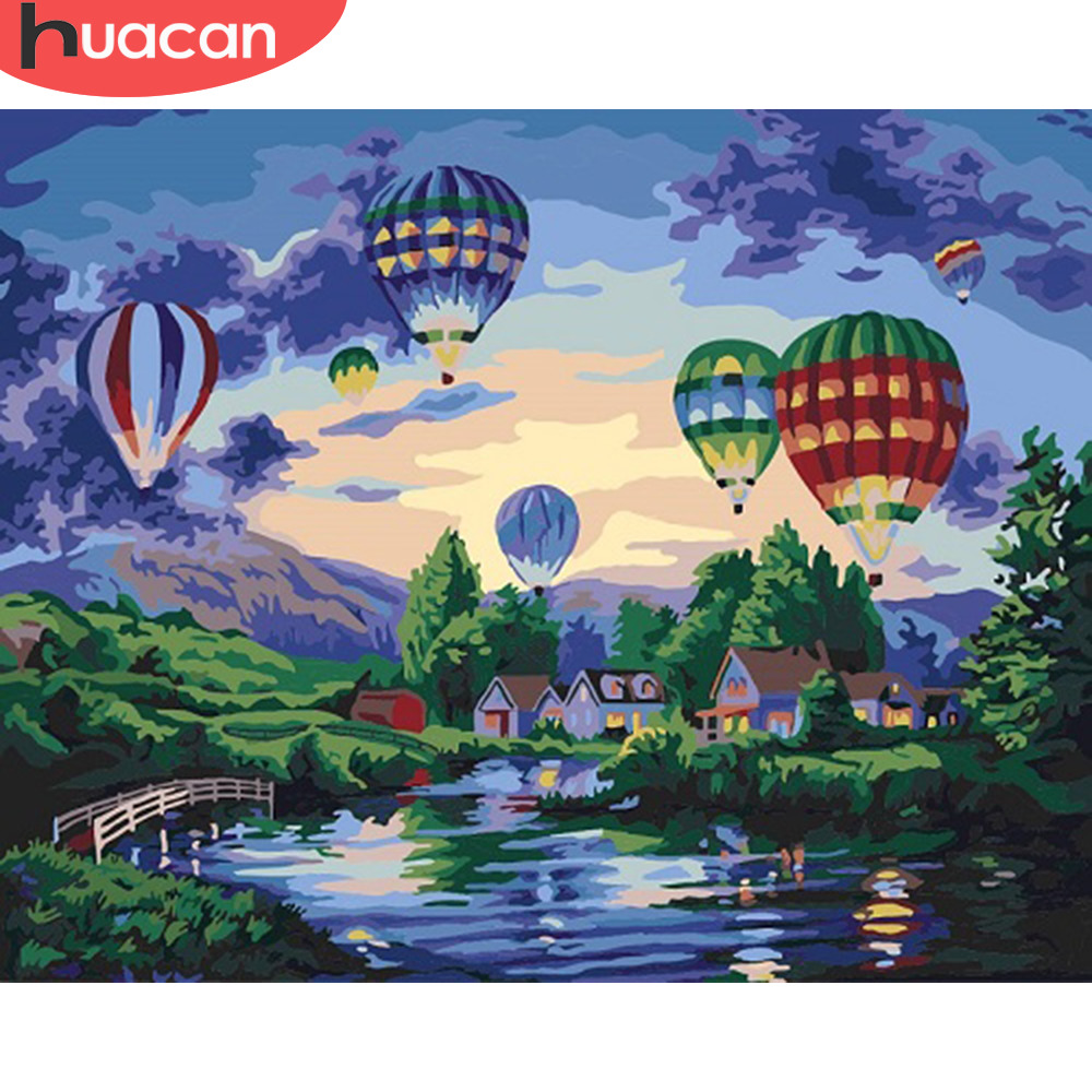 HUACAN DIY Oil Painting By Numbers City Landscape Kits Canvas HandPainted Gift Pictures Hot Air Balloon Scenery Home Decor