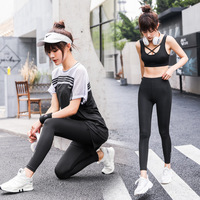 2019 Summer New Style Four piece Set Women's Fitness Suit Slim Fit Large Size Loose Fit Gym Equipment Yoga Clothes Sportswear