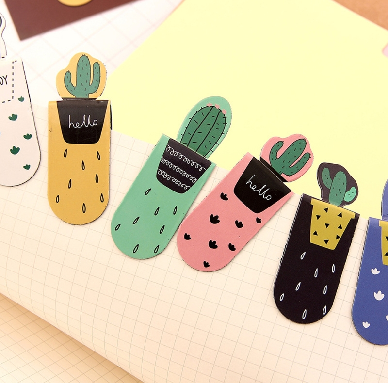 3Pcs /Set Fresh Cute Cactus Magnetic Bookmarks Stationery School Office Supply