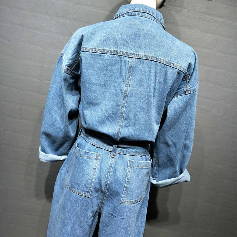 2020 Nieuwe Casual Riem Denim Overalls Vrouwen Vintage Solid Single Breasted Hoge Taille Jeans Jumpsuits Womens Office Rompertjes M-L