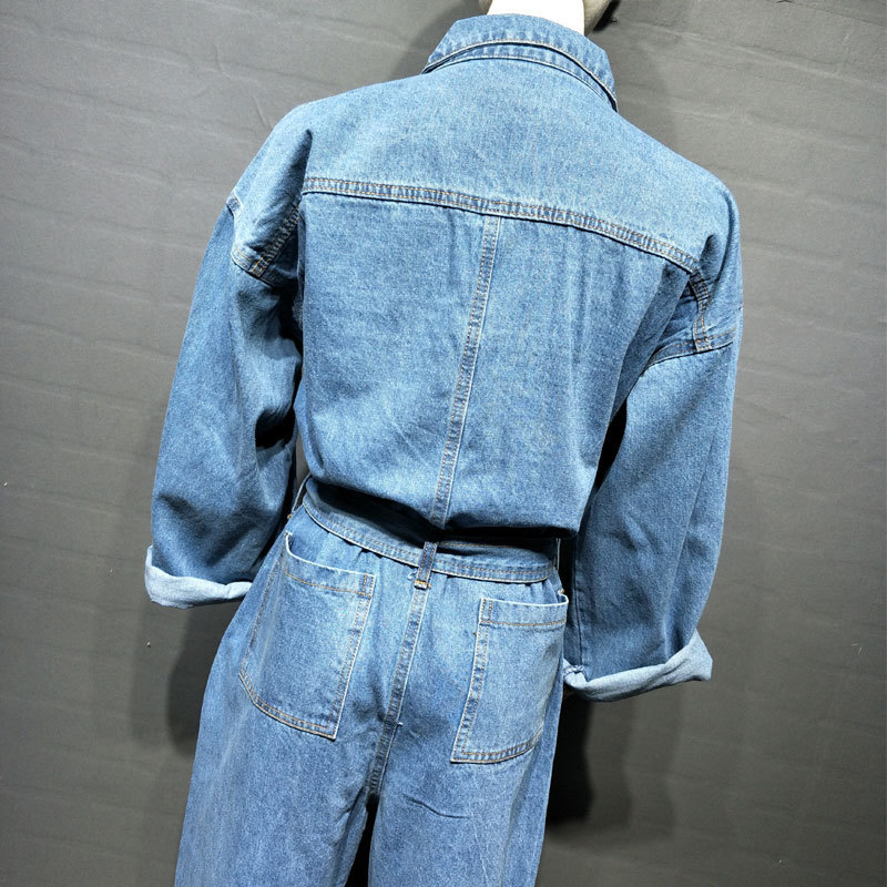 2020 New Casual Belt Denim Overalls Women Vintage Solid Single Breasted High Waist Jeans Jumpsuits Womens Office Rompers M-L