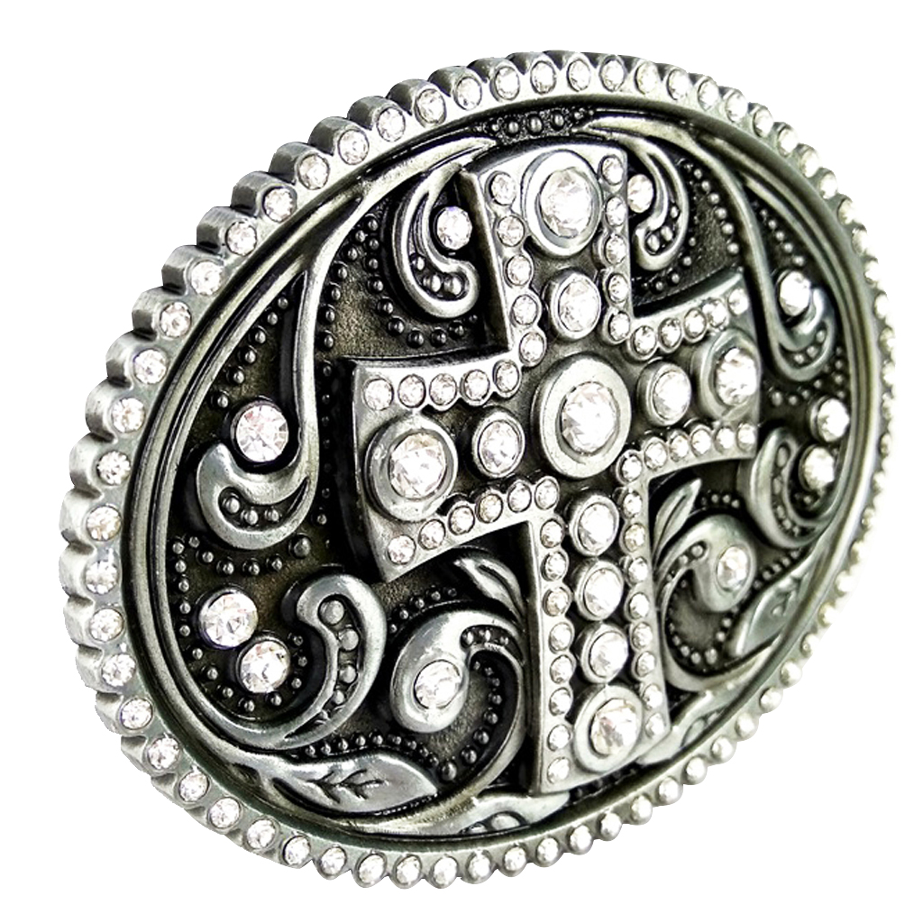 Retro Prayer Cross Pattern Belt Buckle Crystal Silver Cowboy Church Gift
