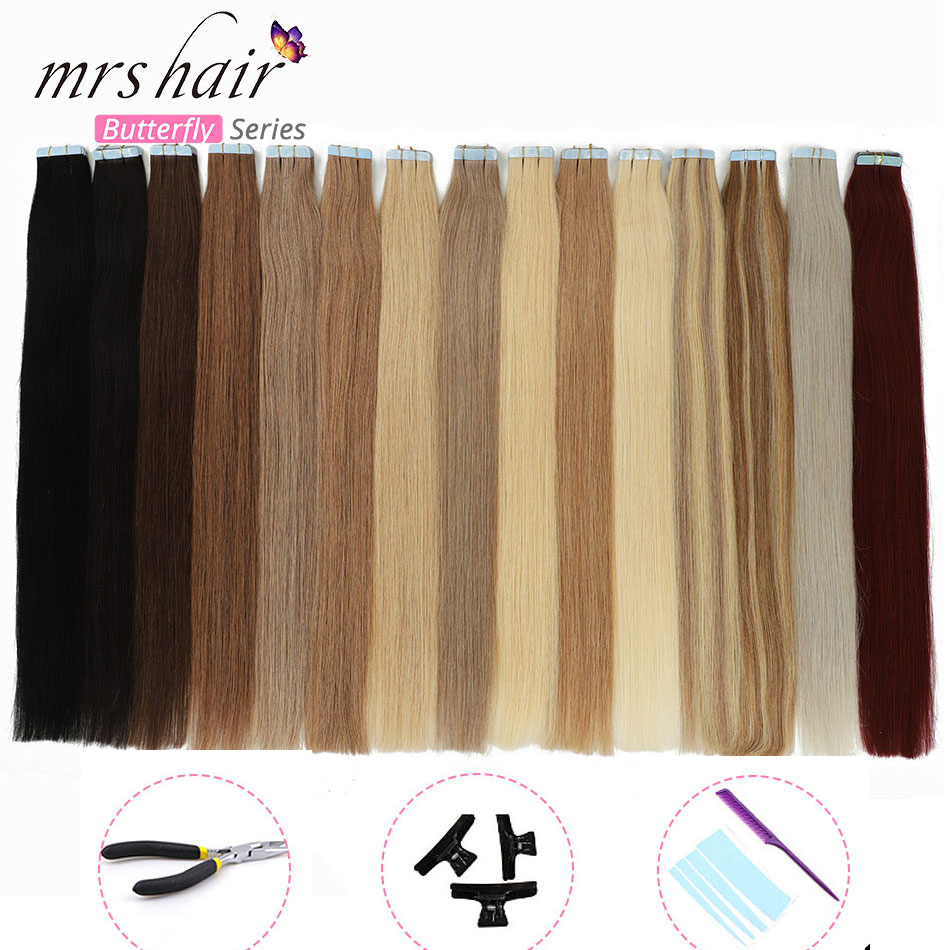 MRSHAIR KITS Tape In Seamless Skin Weft Real Human Hair Machine Remy Straight Bundles Double Sided Tape Hair Full Head 20pc 40pc