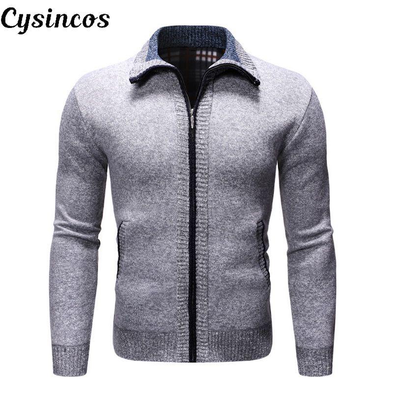 CYSINCOS2019 Autumn Winter Men's SweaterCoat Faux Fur Wool Sweater Jackets Men Zipper Knitted Thick Coat Casual Knitwear