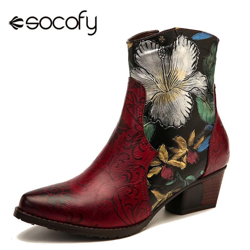 SOCOFY rétro bottes en relief peinture à l'huile fleurs couture en cuir véritable talon bas bottes chaussures femmes élégantes dames chaussures 2020