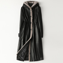 Clássico outono inverno gola de vison couro com capuz para baixo jaquetas mulher grosso quente preto real pele longo casaco alta qualidade outwear
