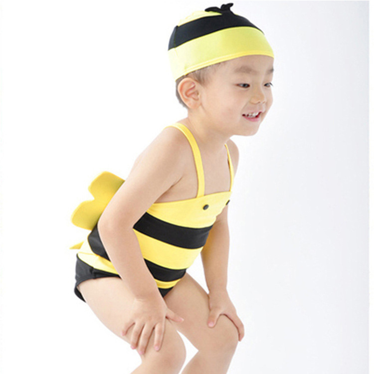 CHILDREN'S Swimsuit Set South Korea Girls BOY'S One-piece Cute Little Bee Hot Springs Tour Bathing Suit Baby BABY'S Swimsuit