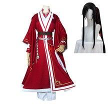 Costumes de Cosplay pour femmes, Anime Tian Guan Ci Fu, Hua Cheng Cosplay San Lang, ensembles rouges, perruques Hua Cheng, Costumes de fête CS505