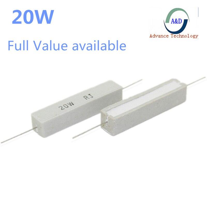 1 шт., полная стоимость, 20 Вт, 5% цементный резистор, силовое сопротивление 0,1 ~ 10K 1R 2R 6,8r 0,01 R 4,7r 330R 510R 68R 10R 100 1K 1,5 K 2K 10K Ом