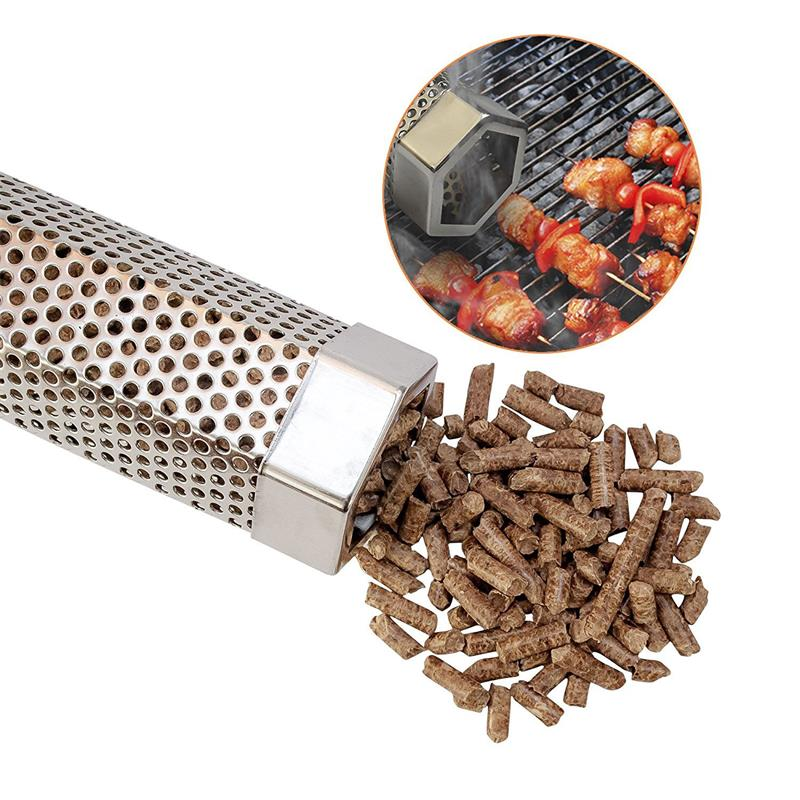 12 Hexagon Pellet Smoker Stainless Steel Tube Smoke Apple Wood Pellet Chips For Hot Cold Smoking BBQ Grill Flavor Meat Cheese image