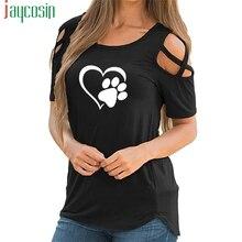 New Fashion Love Dog Paw Print Tops Shirt Women Plus Size Raglan Pink T-shirt Tumblr Cropped Cute Su