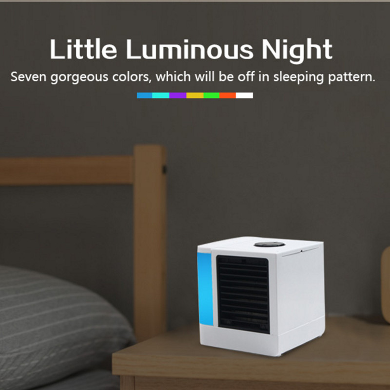USB Mini Portable LCD Air Conditioner Humidifier Purifier Light Desktop Air Cooling Fan Air Cooler Fan For Office Home 7 Colors