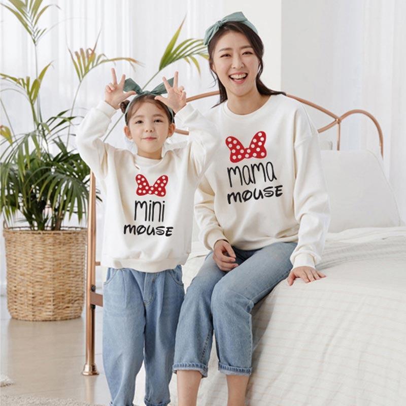 Cartoon Sweatshirts Mother Daughter Family Matching