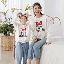 Мультяшные толстовки для мамы и дочки одежда Осенние Семейные
