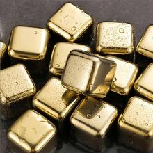 Superior 304 Stainless Steel Gold Ice Cube Stone For Barware