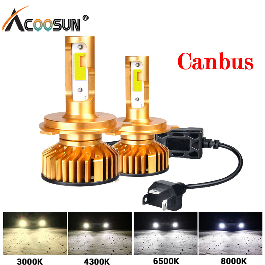 Mini Canbus Lampada Led H4 H7 LED Car Headlight 12V 6500K 10000LM 4300K 3000K 8000K Lamp H1 9005 HB3 9006 HB4 H8 H11 Light Bulbs