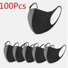 Herbruikbare Gezicht Mond Masker Zwarte Wasbare Zachte Gezicht Maskers Volwassen Mode Anti Haze Anti Dust Oorhaakje Masker Voor Kiem Bescherming