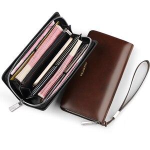 Image 5 - WilliamPOLO ファッションすべてのマッチ男性の財布本革ワックス状の革ロングカード電話ポーチ牛革リストレット新しいジッパー